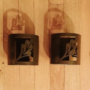 Metal Candleholders with Leaf Silhouette
